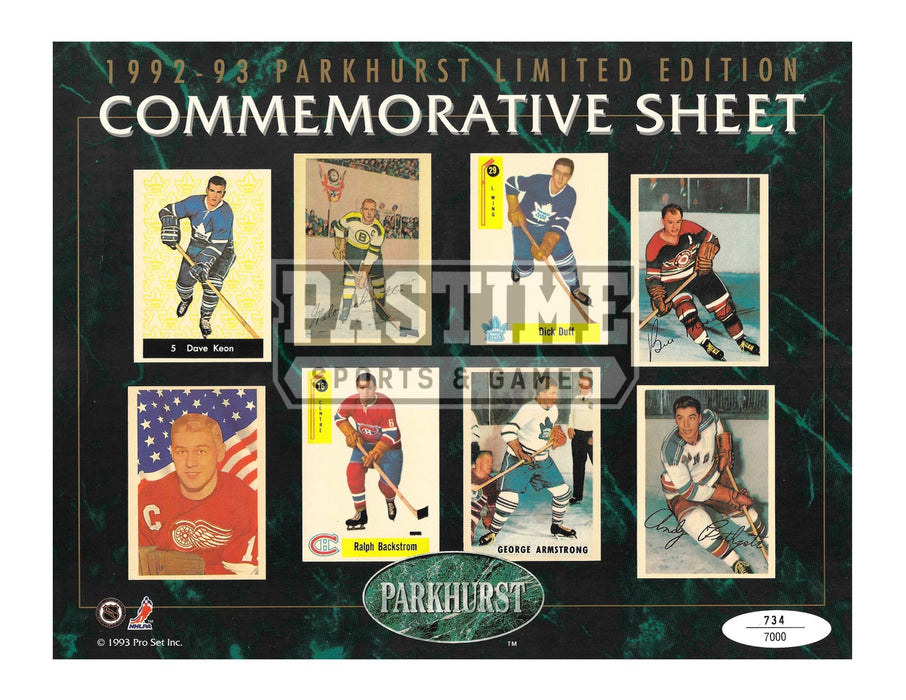 1992-93 Parkhurst Limited Edition Commemorative Sheet 9X12 (# out of 7000) - Pastime Sports & Games