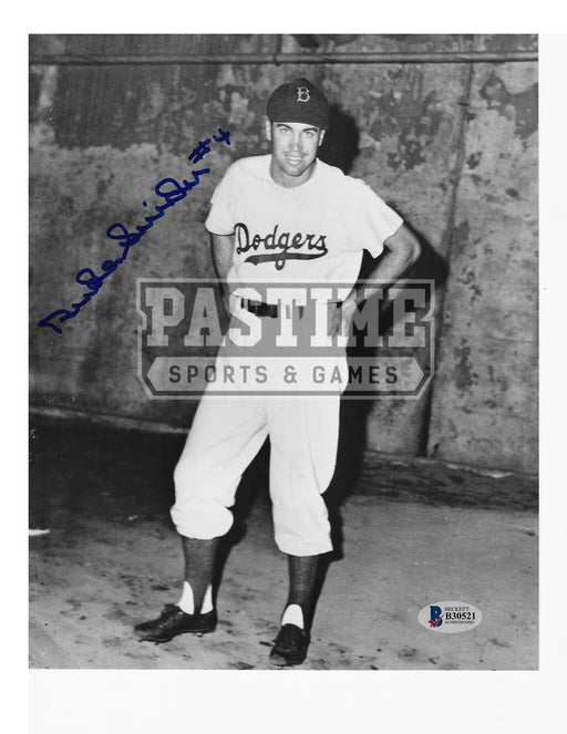 Duke Snider Autographed 8X10 Los Angeles Dodgers (Standing Black And White) - Pastime Sports & Games