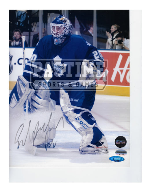 Ed Belfour Autographed 8X10 Toronto Maple Leafs Home Jersey (By Net) - Pastime Sports & Games