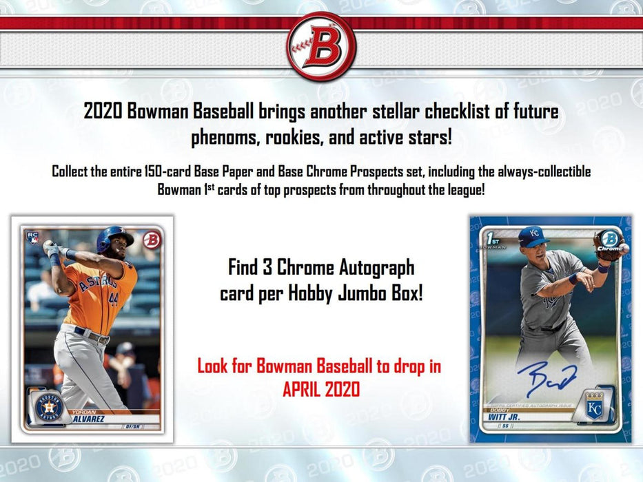 2020 Bowman Baseball Jumbo Box - Pastime Sports & Games
