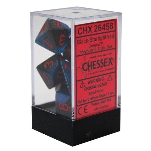 Chessex 7pc RPG Dice Set Gemini Black Starlight/Red CHX26458 - Pastime Sports & Games