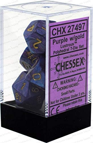 Chessex 7pc RPG Dice Set Lustrous Purple/Gold CHX27497 - Pastime Sports & Games