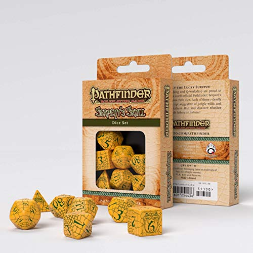 Q-Workshop 7pc RPG Dice Set Pathfinder Serpents Skull Yellow - Pastime Sports & Games