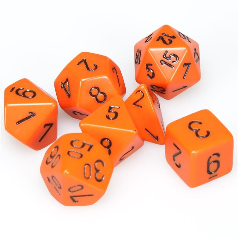 Polyhedral Dice Opaque Orange 7 Set Chessex CHX25403 - Pastime Sports & Games