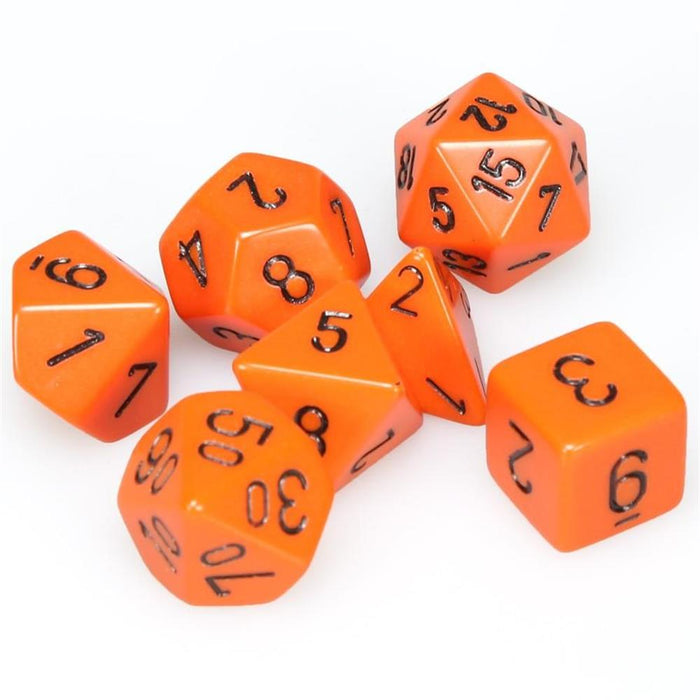 Chessex 7pc RPG Dice Set Opaque Orange/Black CHX25403 - Pastime Sports & Games