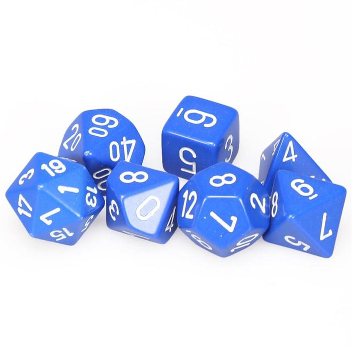 Chessex 7pc RPG Dice Set Opaque Blue/White CHX25406 - Pastime Sports & Games