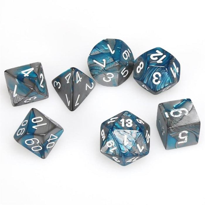 Chessex 7pc RPG Dice Set Gemini Steal & Teal/White CHX26456 - Pastime Sports & Games