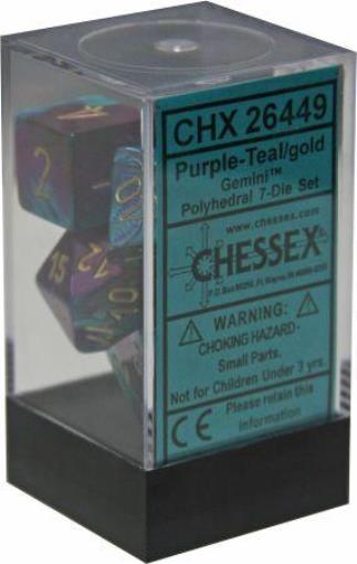 Chessex 7pc RPG Dice Set Gemini Purple & Teal/Gold CHX26449 - Pastime Sports & Games