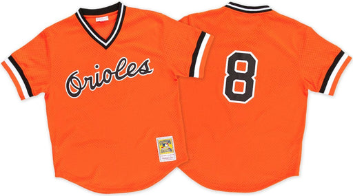 Baltimore Orioles Cal Ripken Mitchell & Ness Orange Mesh Batting Practice Jersey - Pastime Sports & Games