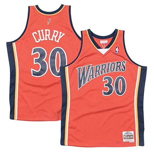 2009/10 Steph Curry Golden State Warriors Alternate Home Basketball Jersey (Orange Mitchell & Ness) - Pastime Sports & Games
