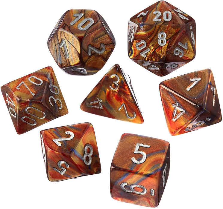 Chessex 7pc RPG Dice Set Lustrous Gold/Silver CHX27493 - Pastime Sports & Games