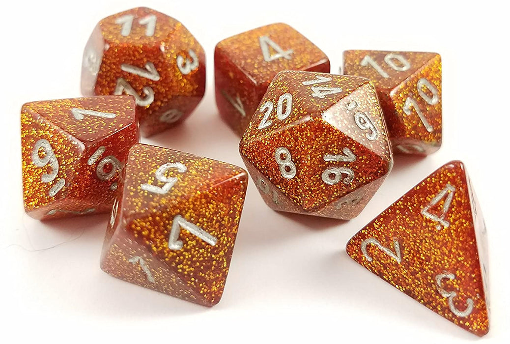 Chessex 7pc RPG Dice Set Glitter Gold/Silver CHX27503 - Pastime Sports & Games