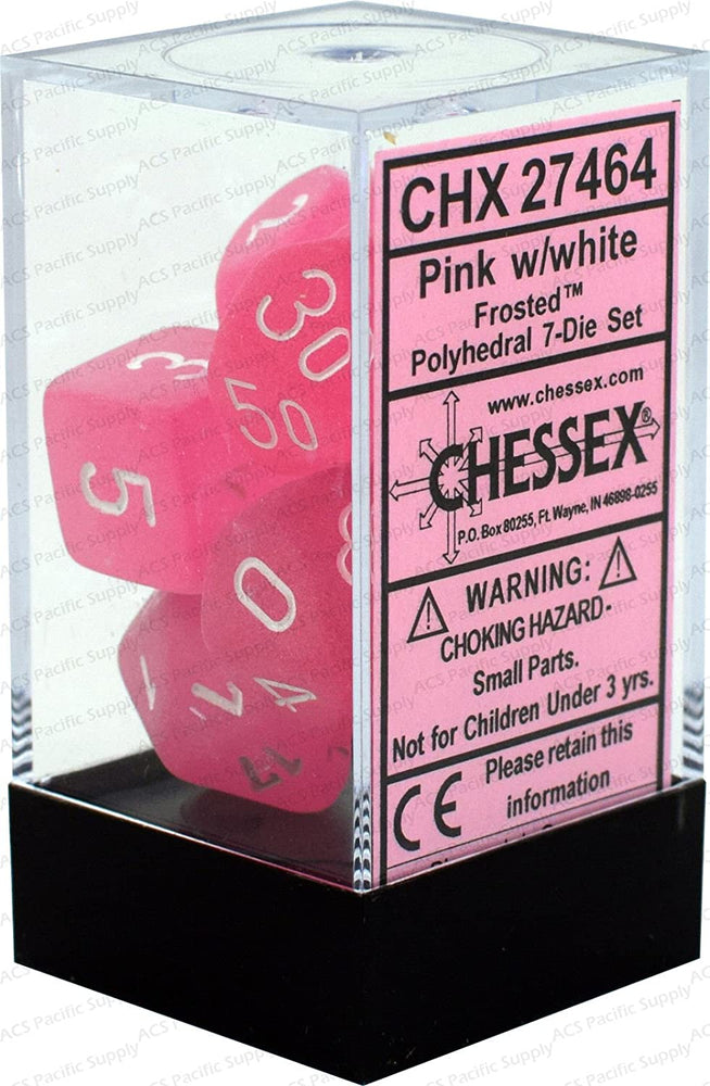 Chessex 7pc RPG Dice Set Frosted Pink/White CHX27464 - Pastime Sports & Games