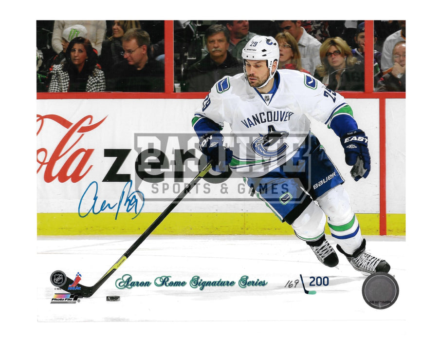 Aaron Rome Autographed 8X10 Vancouver Canucks Away Jersey (Signature Series # Out Of 200) - Pastime Sports & Games