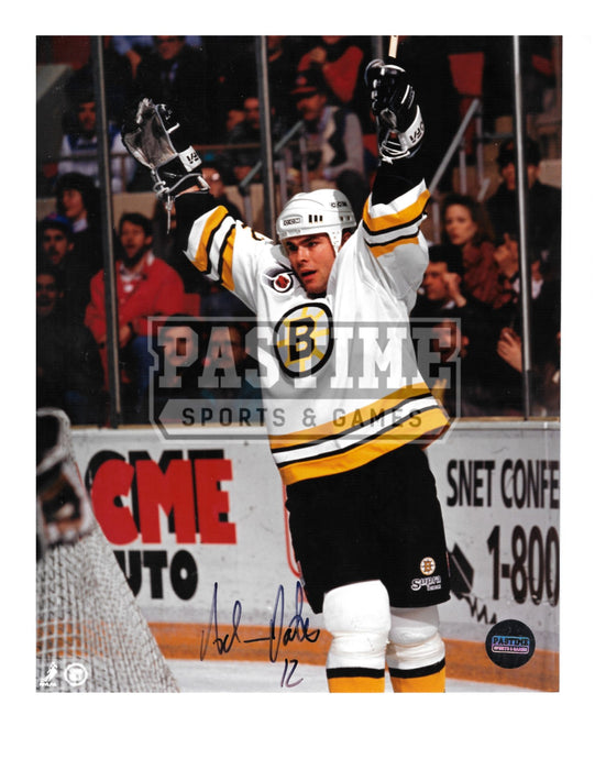 Adam Oates Autographed 8X10 Boston Bruins Away Jersey (Raising Arms) - Pastime Sports & Games