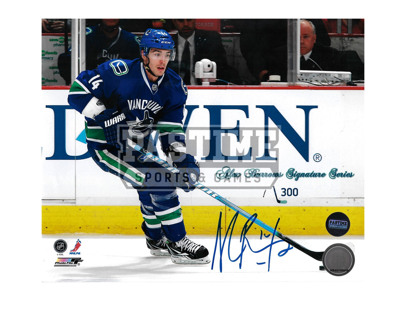 Alex Burrows Autographed 8X10 Vancouver Canucks Home Jersey (# out of 300 Skating With Puck) - Pastime Sports & Games