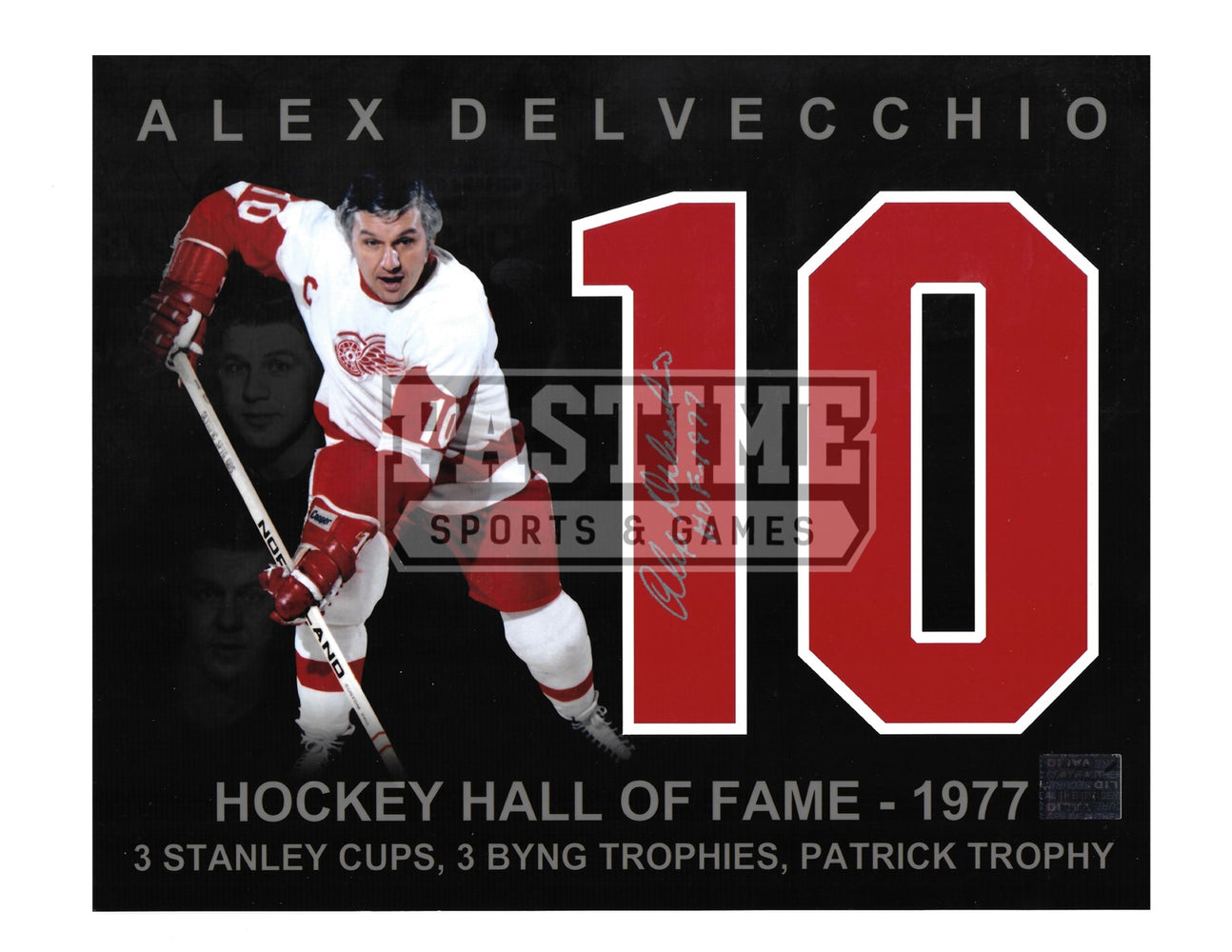 Alex Delvecchio Autographed 8X10 Detriot Red Wings Away Jersey (Hockey Hall Of Fame) - Pastime Sports & Games