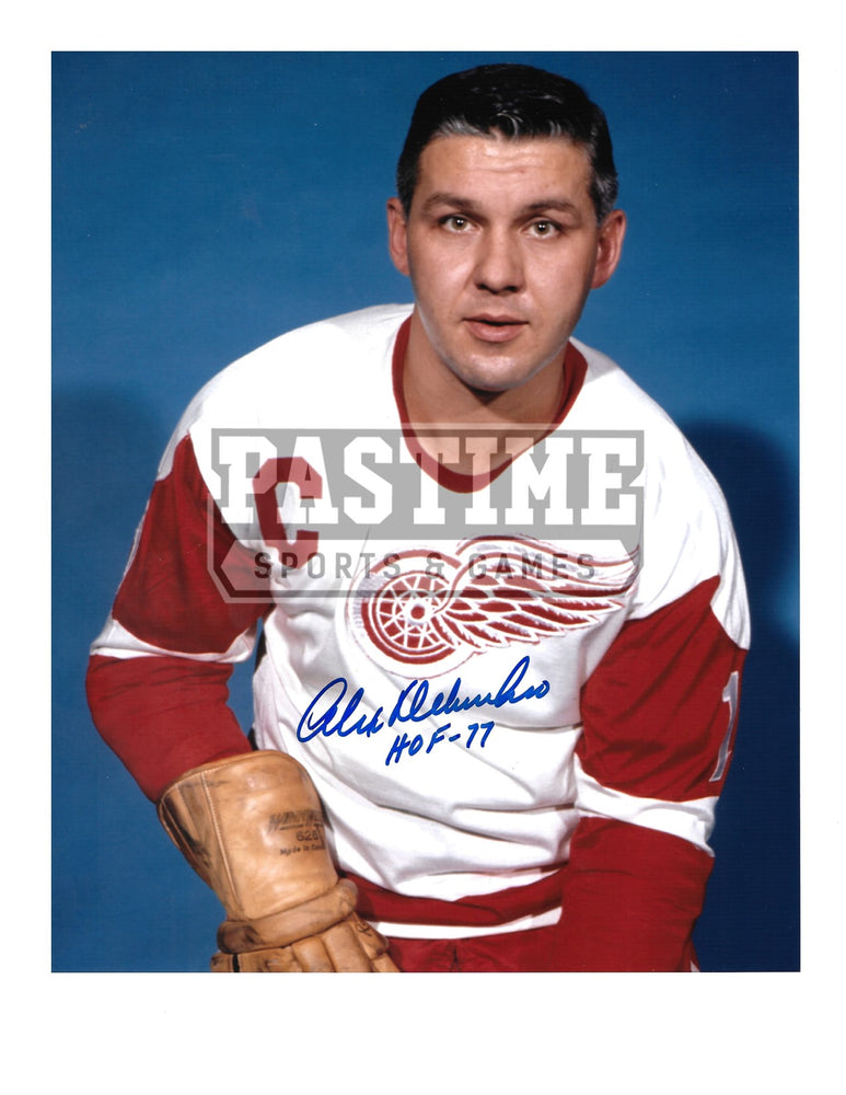 Alex Delvecchio Autographed 8X10 Detroit Redwings Away Jersey (Pose) - Pastime Sports & Games