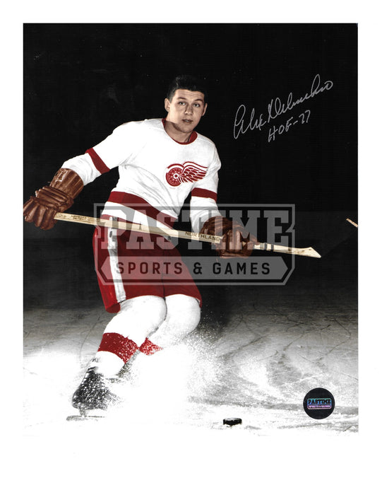 Alex Delvecchio Autographed 8X10 Detriot Redwings Away Jersey (Spraying Ice) - Pastime Sports & Games