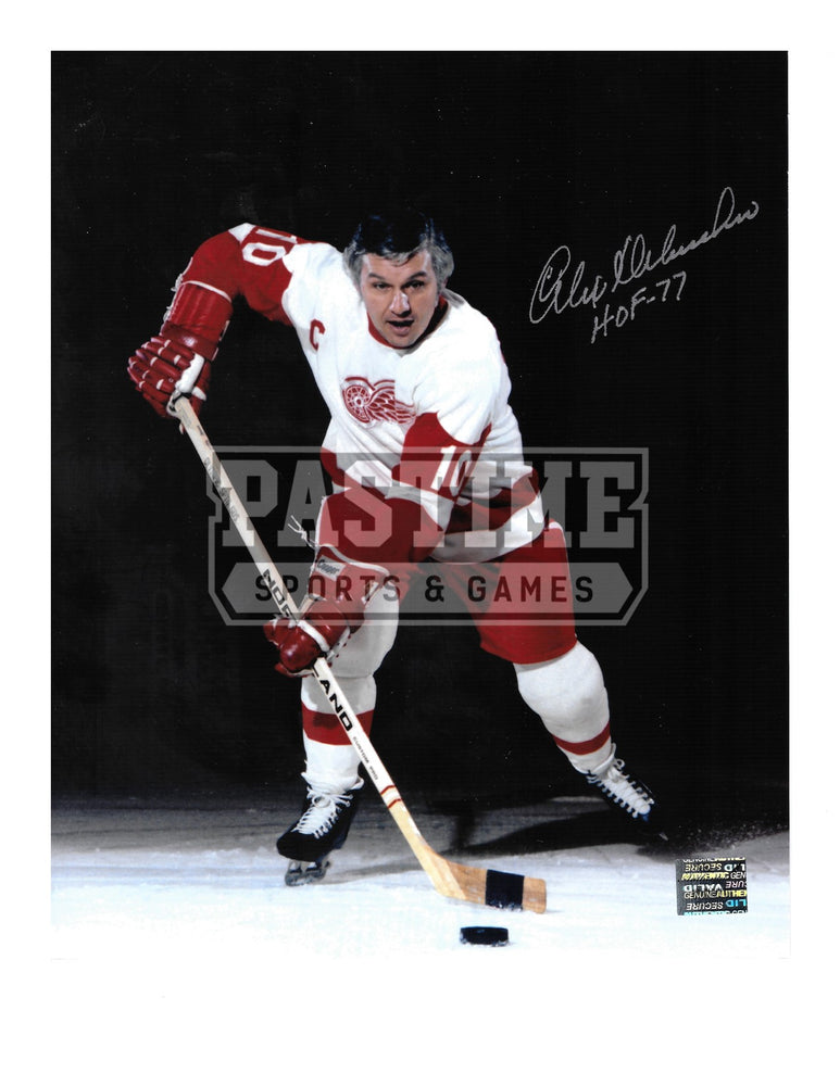 Alex Delvecchio Autographed 8X10 Detriot Redwings Away Jersey (Skating With Puck) - Pastime Sports & Games