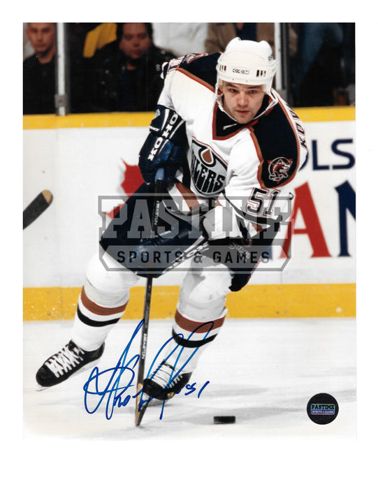 Andrei Kovolanko Autographed 8X10 Edmonton Oilers Away Jersey (Skating With Puck) - Pastime Sports & Games
