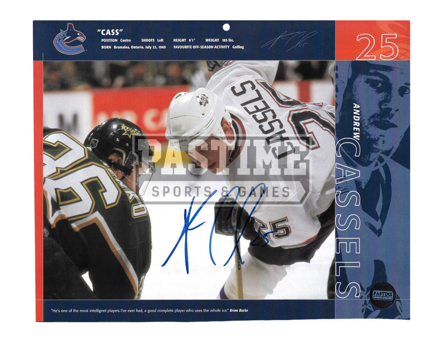 Andrew Cassels Autographed 8X10 Calendar Page Vancouver Canucks Away Jersey (Face Off) - Pastime Sports & Games