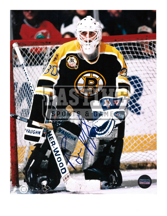 Billy Ranford Autgraphed 8X10 Boston Bruins Home Jersey (In Position) - Pastime Sports & Games