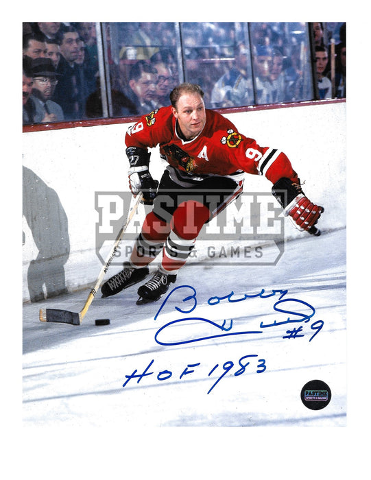 Bobby Hull Autographed 8X10 Chicago Blackhawks Home Jersey (One Hand On Stick) - Pastime Sports & Games