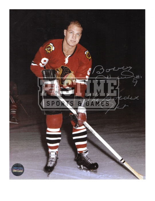 Bobby Hull Autographed 8X10 Chicago Blackhawks Home Jersey (Pose Looking Up) - Pastime Sports & Games
