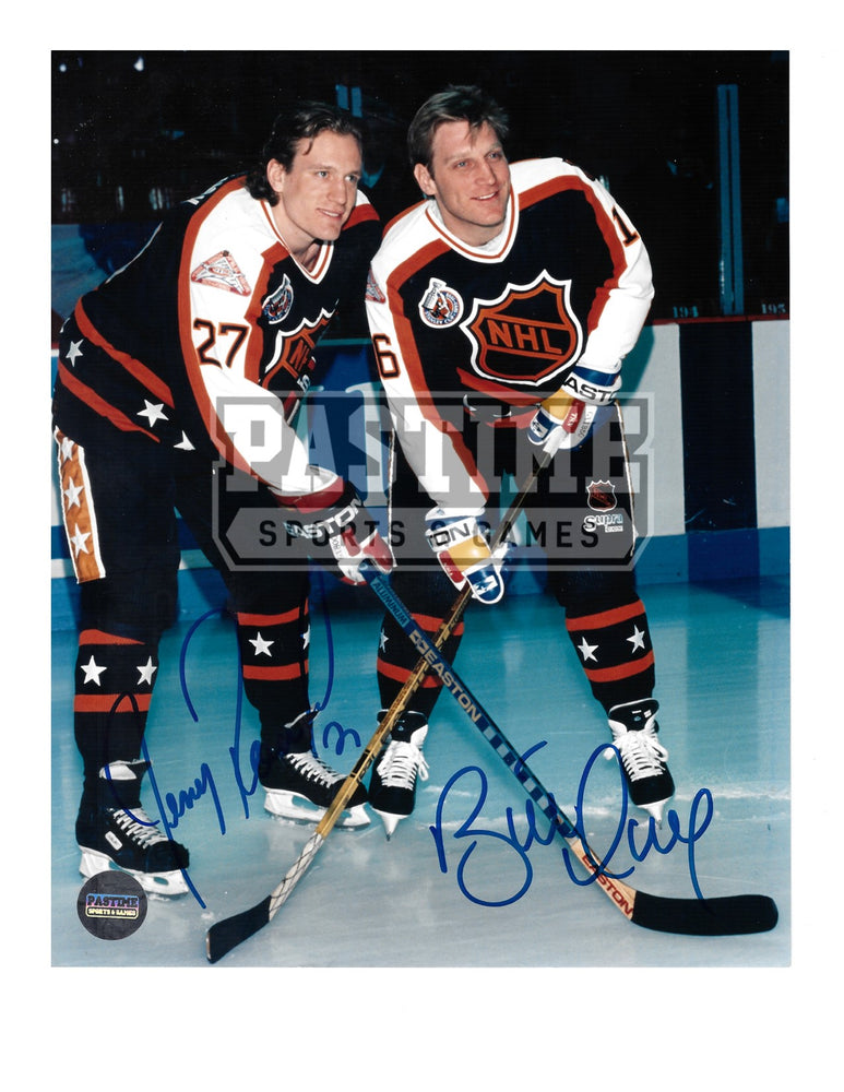 Brett Hull & Jeremy Roenick Autographed 8X10 All Stars Home Jersey (Pose) - Pastime Sports & Games