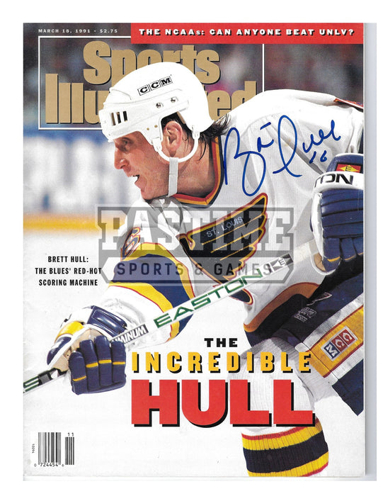 Brett Hull Autographed 8X10 Magazine St. Lious Blues Away Jersey (Cover of Magazine) - Pastime Sports & Games