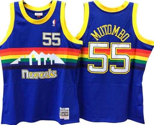 1991/92 Dikembe Mutombo Denver Nuggets Home Basketball Jersey (Blue Mitchell & Ness) - Pastime Sports & Games