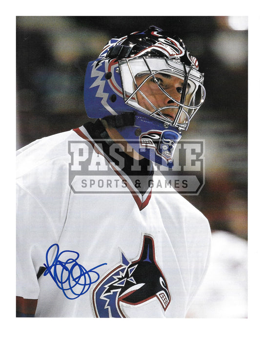 Bob Essensa Autographed 8X10 Vancouver Canucks Away Jersey (Close Up) - Pastime Sports & Games