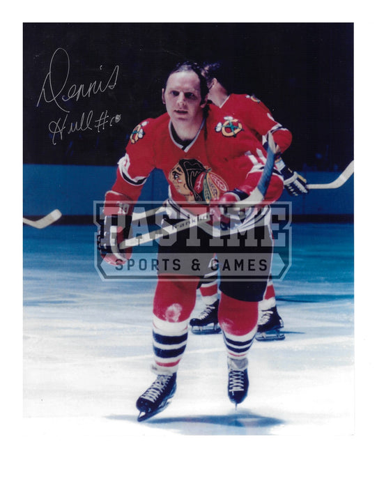Dennis Hull Autographed 8X10 Chicago Blackhawks Home Jersey (Skating) - Pastime Sports & Games