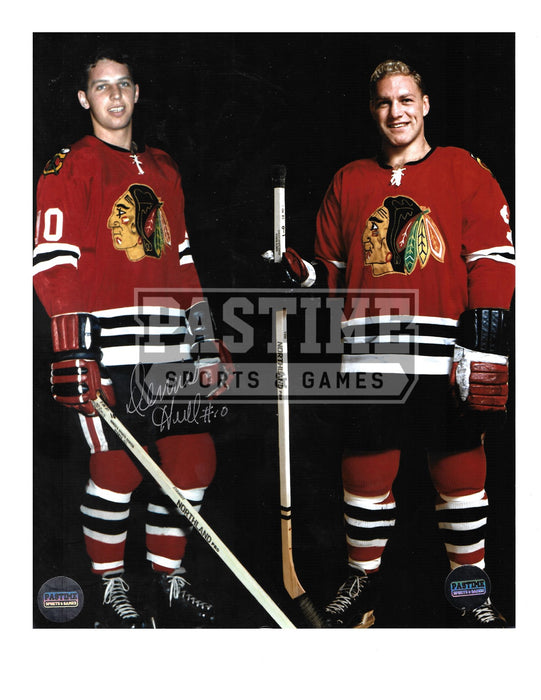 Dennis Hull & Bobby Hull Autographed 8X10 Chicago Blackhawks Home Jersey (Posing) - Pastime Sports & Games
