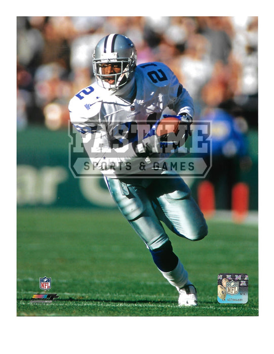Dion Sanders 8X10 Dallas Cowboys Away Jersey (Running With Ball) - Pastime Sports & Games
