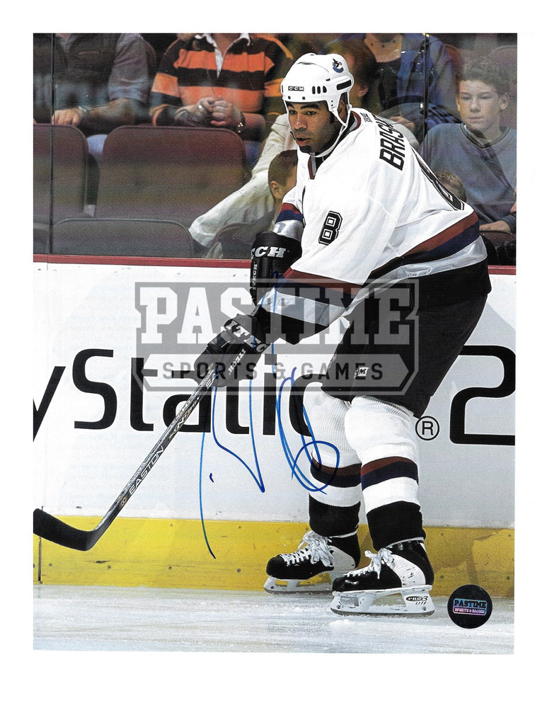 Donald Brashear Autographed 8X10 Magazine Page Vancouver Canucks Away Jersey (Skating) - Pastime Sports & Games