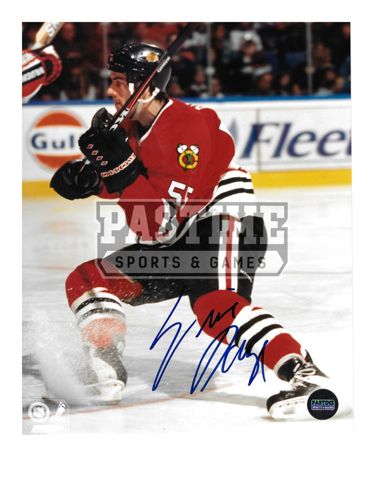 Eric Daze Autographed 8X10 Chicago Blackhawks Home Jersey (Stick Up) - Pastime Sports & Games