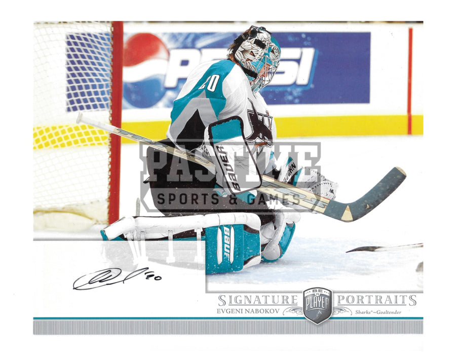Evgeni Nabokov Autographed 8X10 San Jose Sharks Away Jersey (Signature Portraits) - Pastime Sports & Games