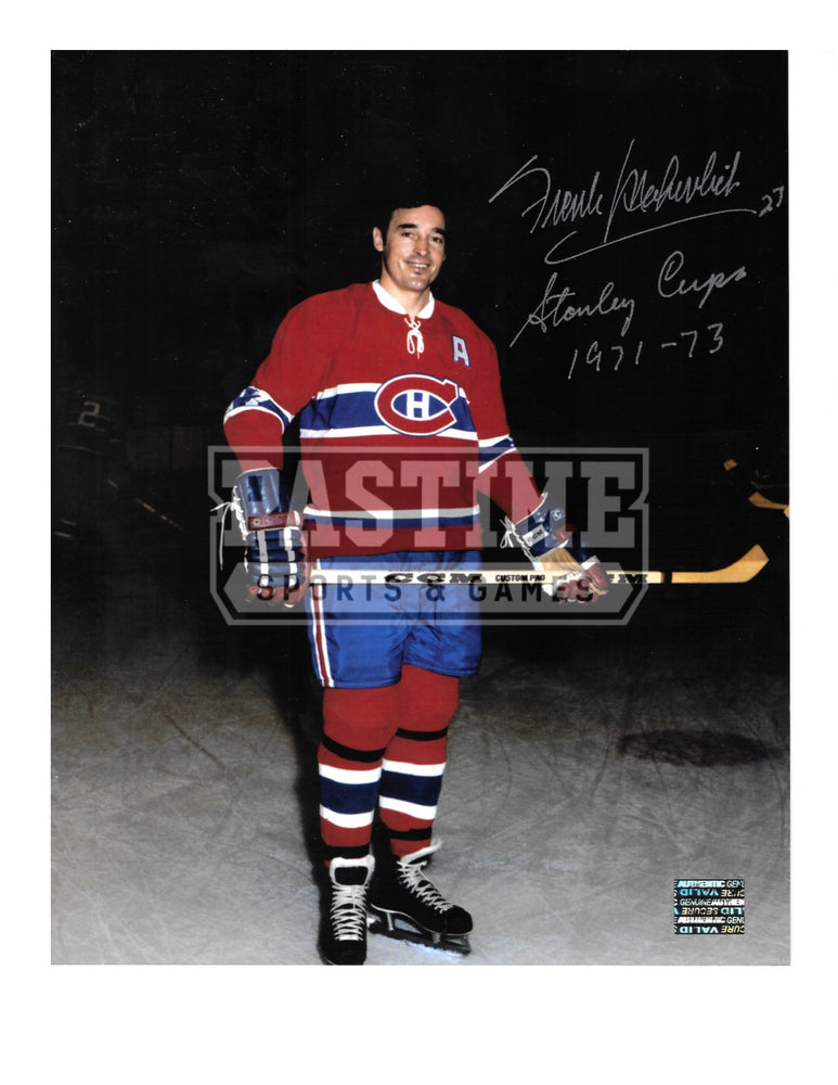 Frank Mahovlich Autographed 8X10 Montreal Canadians Home Jersey (Pose With Stick) - Pastime Sports & Games