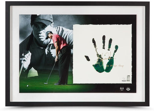 Tiger Woods Autographed & Inscribed Green & Black Tegata Lithograph Hand Impression - Pastime Sports & Games