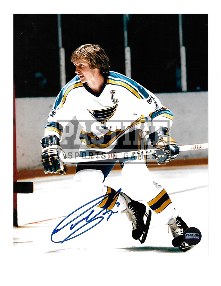 Gary Unger Autographed 8X10 St. Louis Blues Away Jersey (Skating) - Pastime Sports & Games