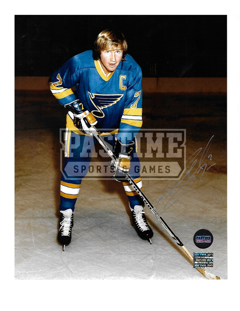 Gary Unger Autographed 8X10 St.Louis Blues Home Jersey (Pose With Stick) - Pastime Sports & Games