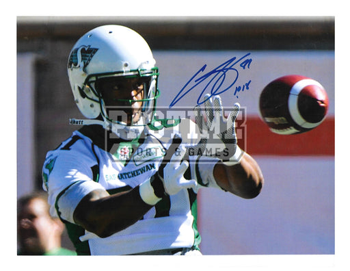 Geroy Simon Autographed 8X10 Saskatchewan Roughriders Away Jersey (Catching Ball) - Pastime Sports & Games