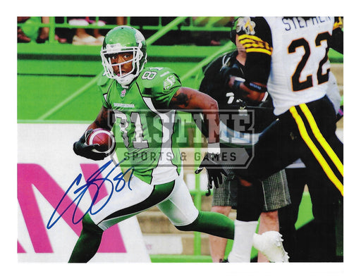 Geroy SImon Autographed 8X10 Saskatchewan Roughriders Home Jersey (Running With Ball) - Pastime Sports & Games