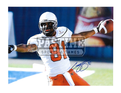 Geroy Simon Autographed 8X10 B.C Lions Away Jersey (Pointing) - Pastime Sports & Games