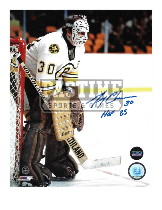 Gerry Cheevers Autographed 8X10 Boston Bruins Away Jersey (In Position) - Pastime Sports & Games