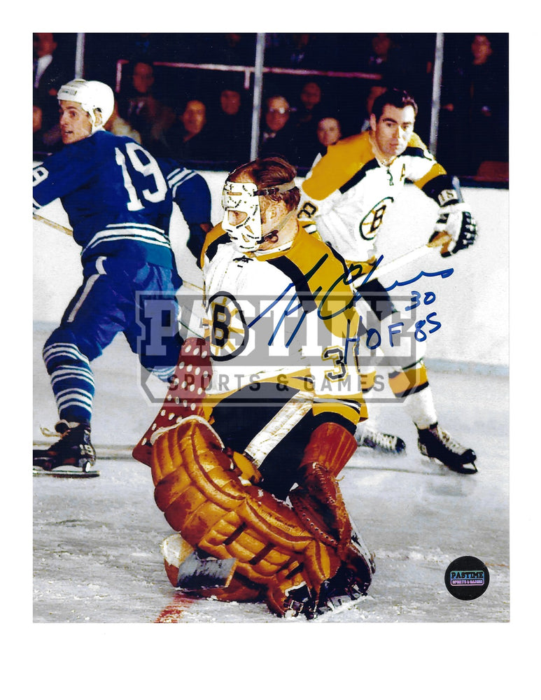 Gerry Cheevers Autographed 8X10 Boston Bruins Away Jersey (In Position Mask On) - Pastime Sports & Games