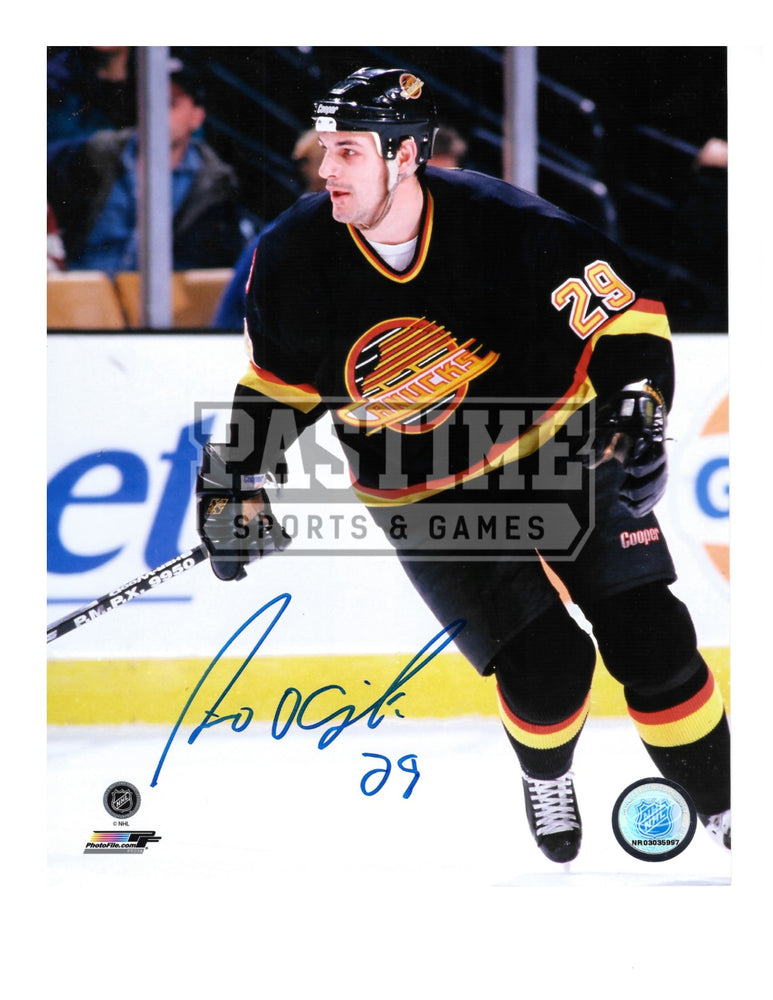 Gino Odjick Autographed 8X10 Vancouver Canucks 94 Home Jersey (Skating Stick Up) - Pastime Sports & Games