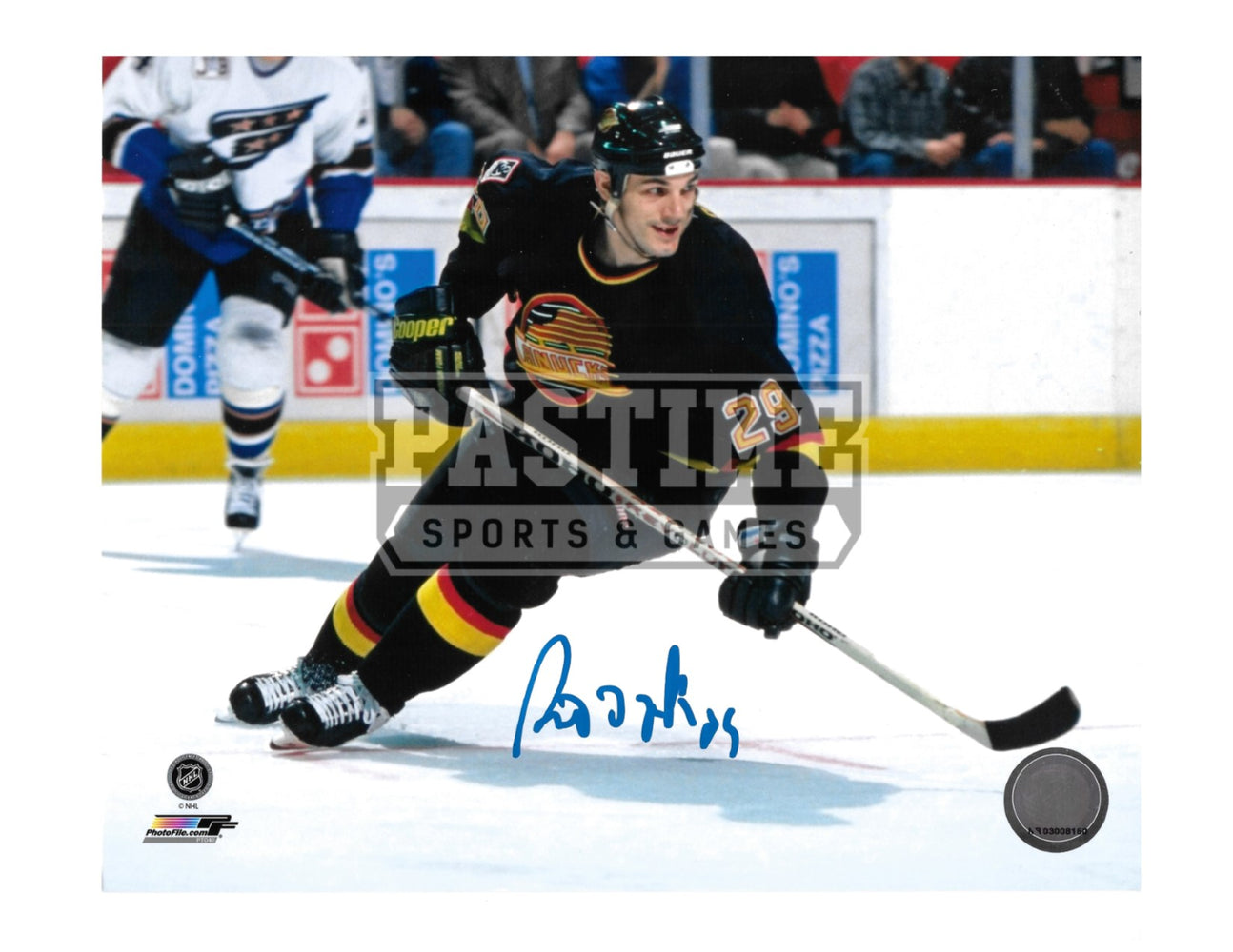 Gino Odjick Autographed 8X10 Vancouver Canucks 94 Home Jersey (Skating) - Pastime Sports & Games
